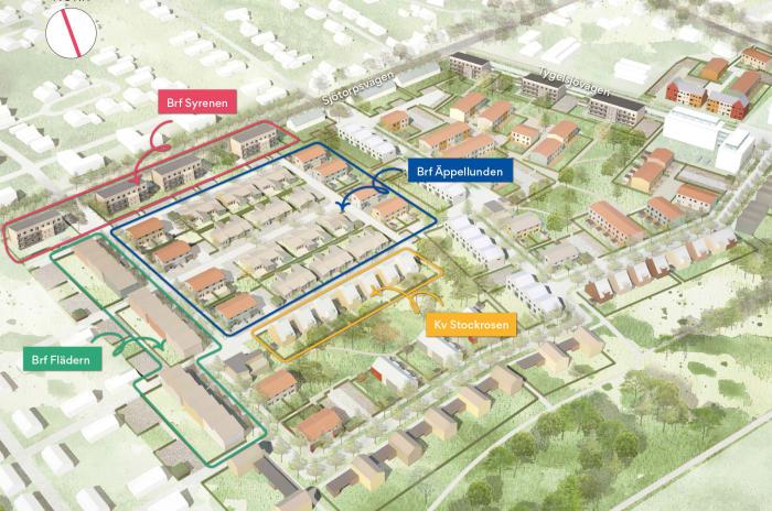 Områdesbild på tygelsjö väster och byggnationerna som obos planerar