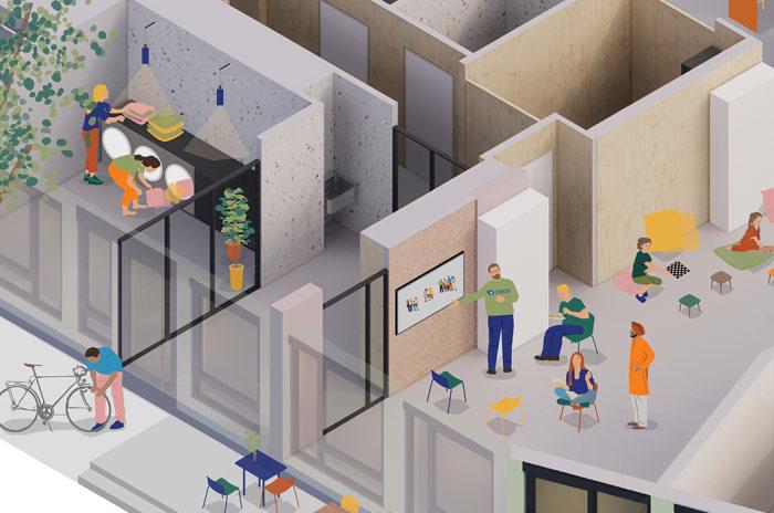 Illustrasjon av vaskestue og innovasjonsarealer i Obos Living Lab.