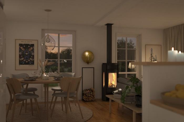 Interiör med en brasmakin i brf storseglet som obos bygger i Nynäshamn, Stockholm