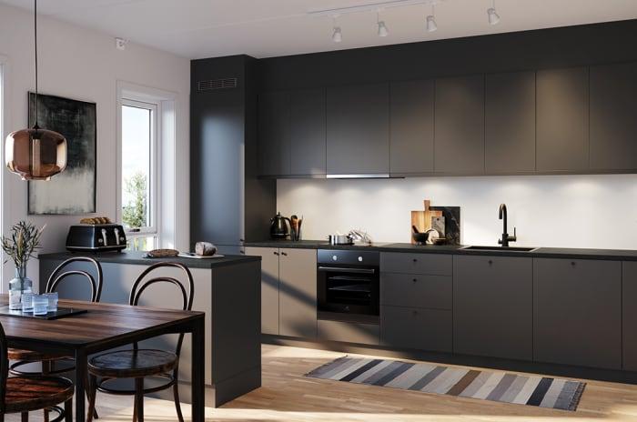 Illustrasjon av det svarte kjøkkenet Nero i MIDT i Lørenskog.