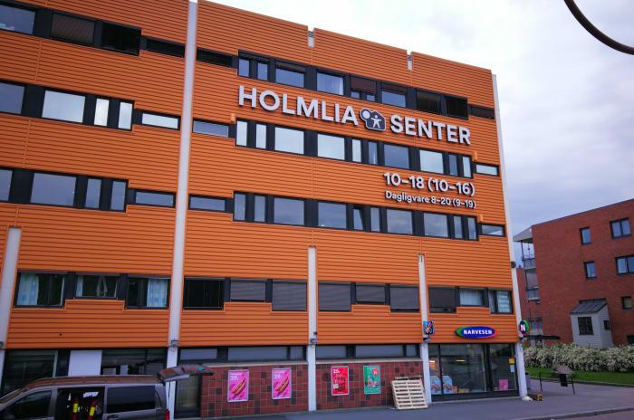 Bilde av fasaden på Holmlia Senter