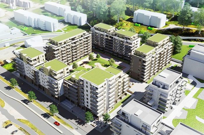 Illustrasjon av boligprosjektet MIDT i Lørenskog med solforhold.