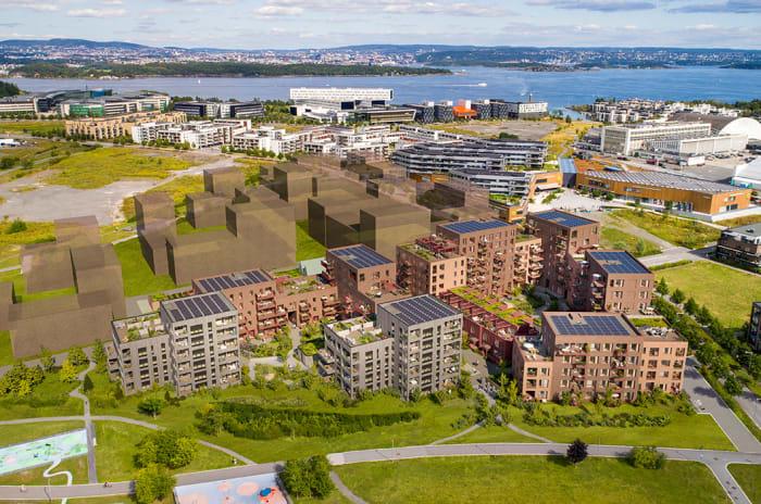 Oversiktsbilde av Nansenløkka, med planlagte bygg.