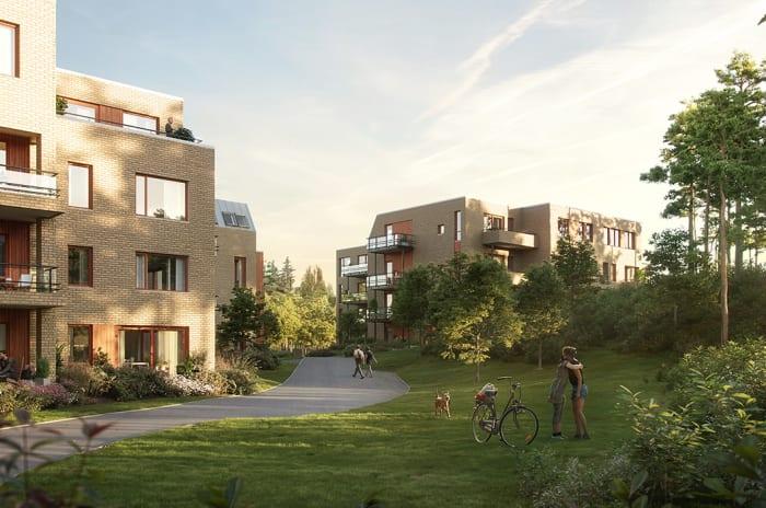 Fasaden og uteområdene til hus R og S i Sandsliåsen