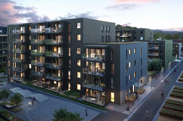 Fasaden til bygg K i Ladebyhagen på kveldstid.