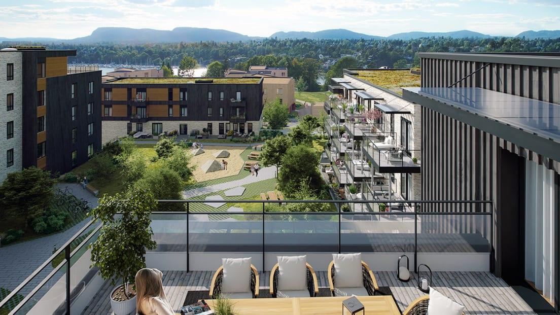 Utsiktsbilde fra terrasse mot friområder og sjø