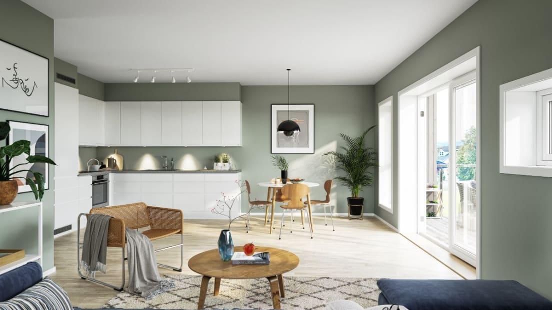 Illustrasjon av stue og kjøkken i leilighet 9, BH6-1