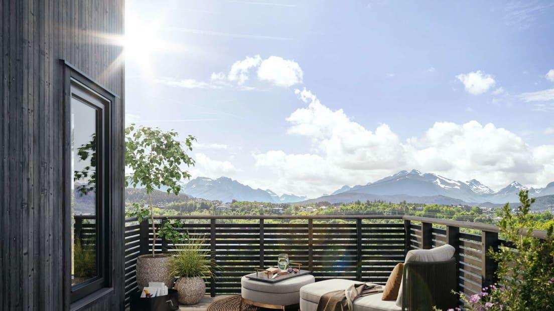Utsikt fra balkong bolig 5 Larsgården