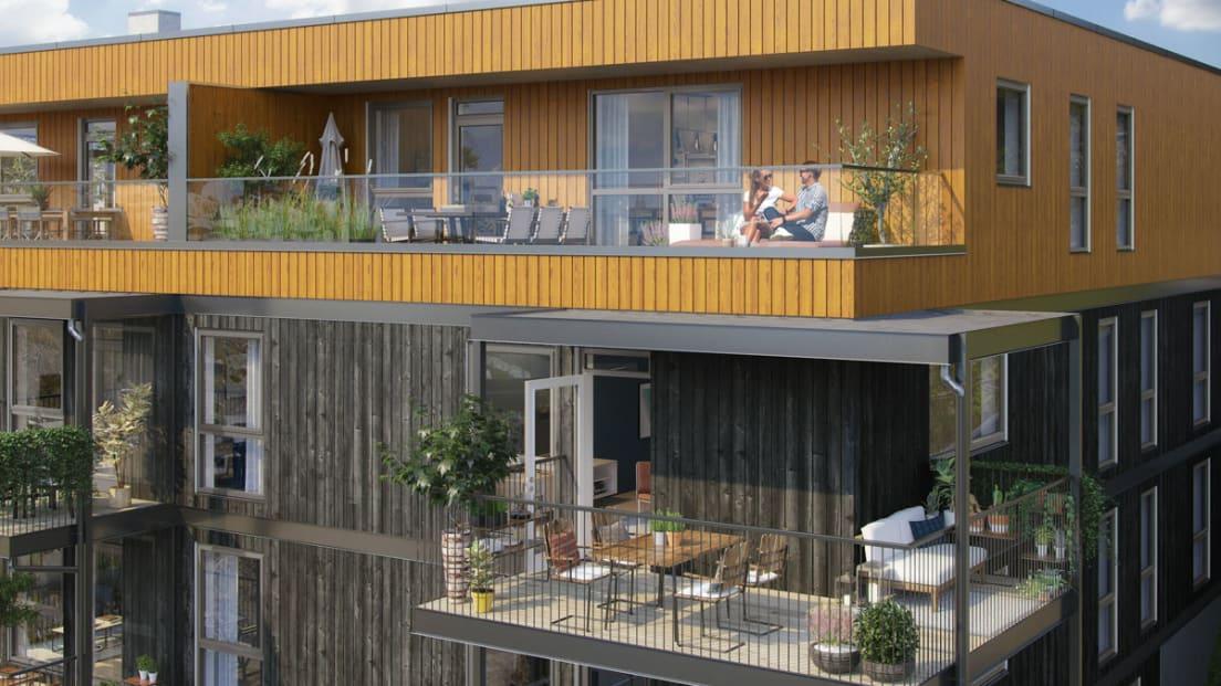 K2 Illustrasjon balkonger fasade fellesareal