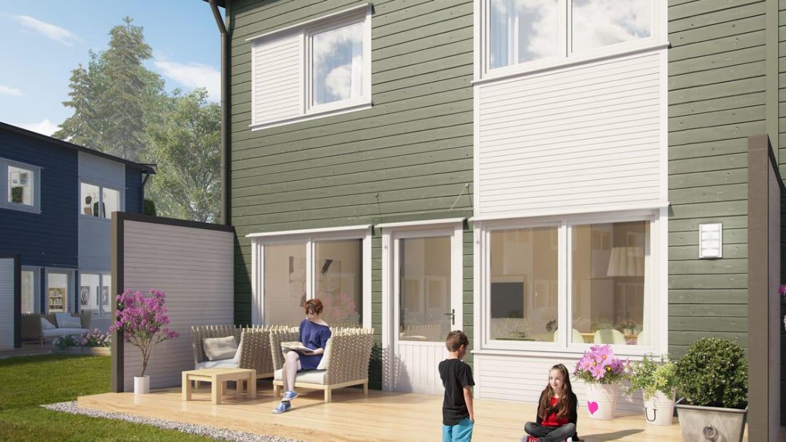 Illustrasjon av fasade og terrasse, leilighet 54-62