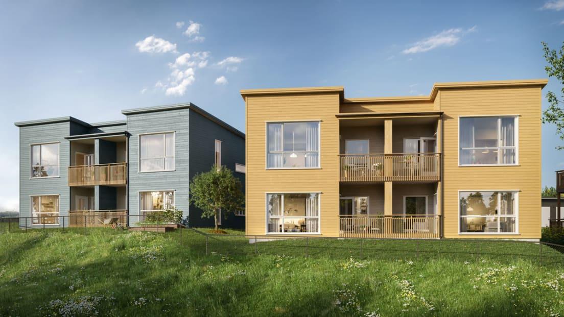 Illustrasjon av fasade på hus C og D