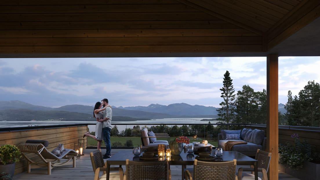 Utsikt fra terrasse på enebolig