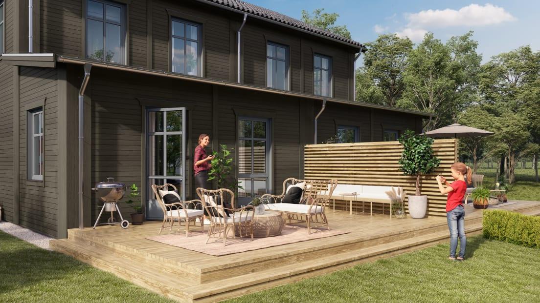 Baksida på en av bostäderna i Brf Karusellen som bostadsutvecklaren obos bygger i Örebro i området Nora Stensnäs
