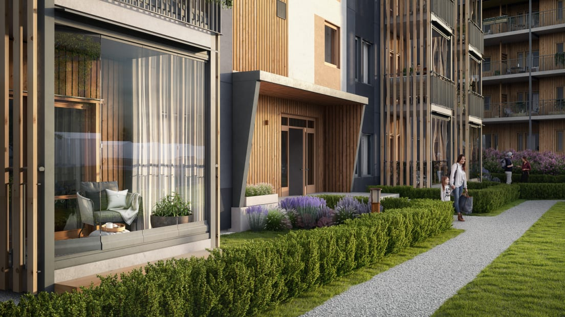promenasgång utefter lägenheterna på bottenvåningen