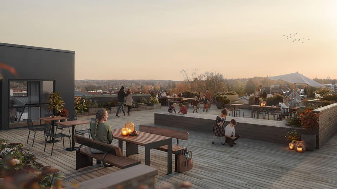 Illustrasjon av takterrassen i Hus B på kveldstid.