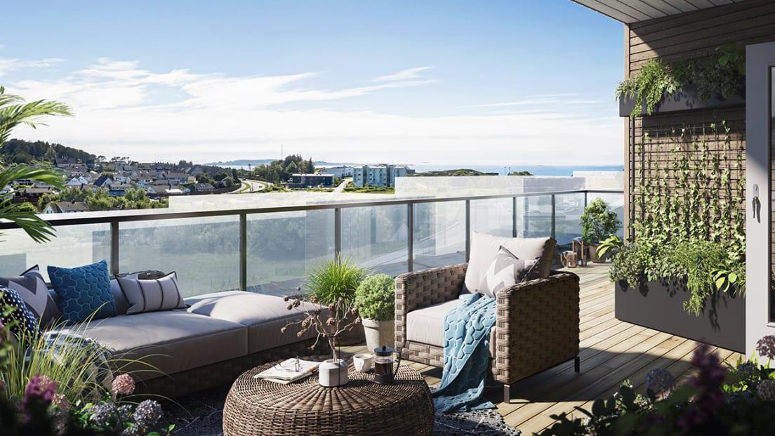 Illustrasjon av balkongen med utsikt over byen i rekkehusene i boligprosjektet Myklebust.
