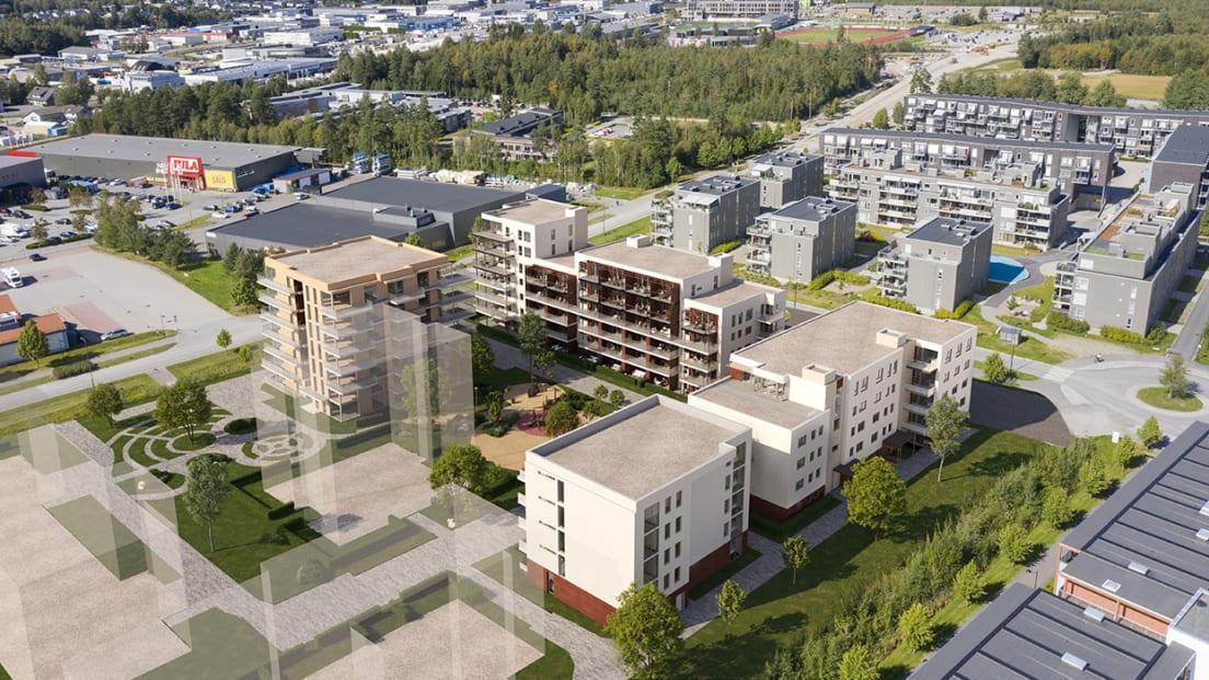 Oversiktsbilde av boligprosjektet Kanalparken med bebyggelse rundt.