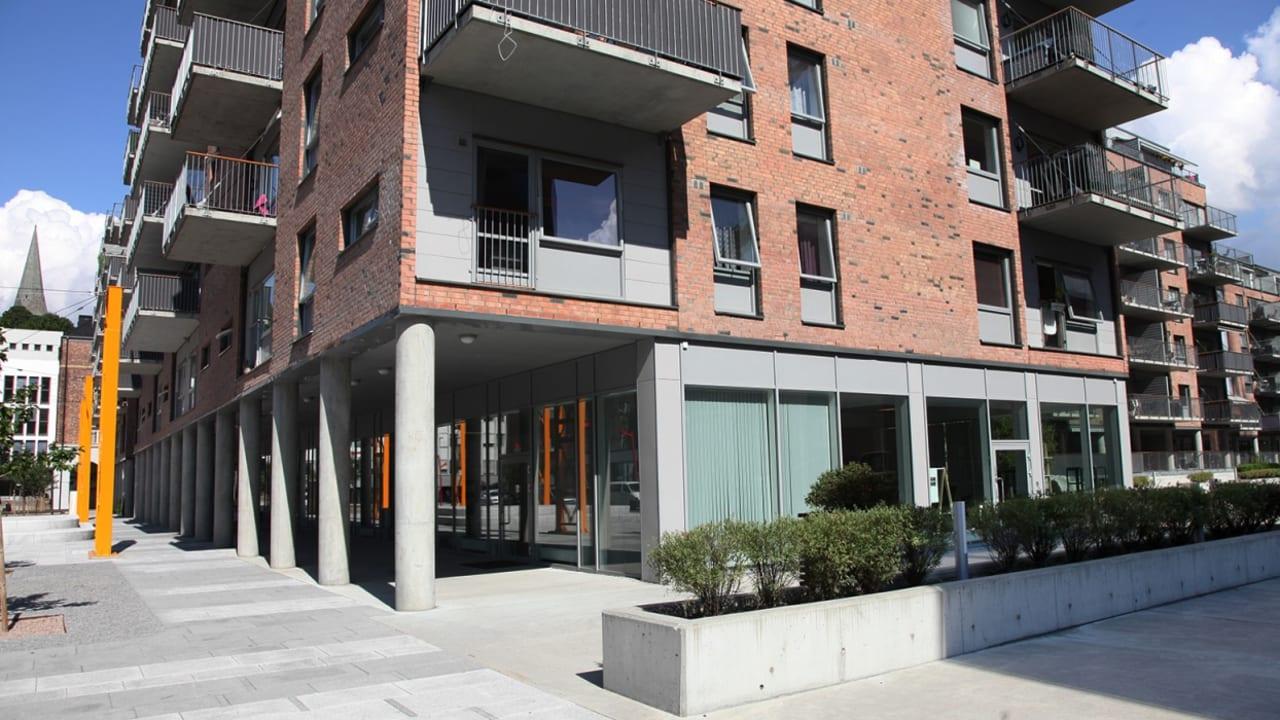 Bilde av fasaden på Turbinveien 3 i Kværnerbyen i Oslo