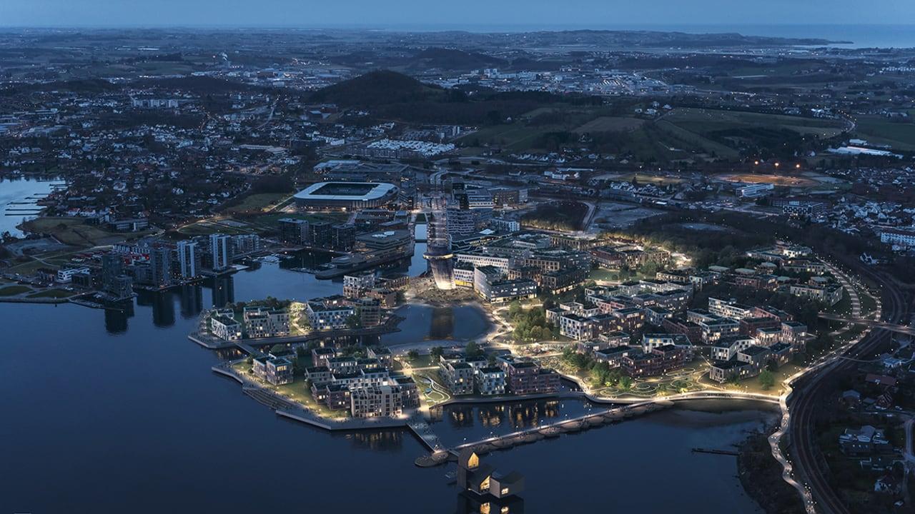 Oversiktsbilde av boligprosjektet Jåttåvågen og området rundt.