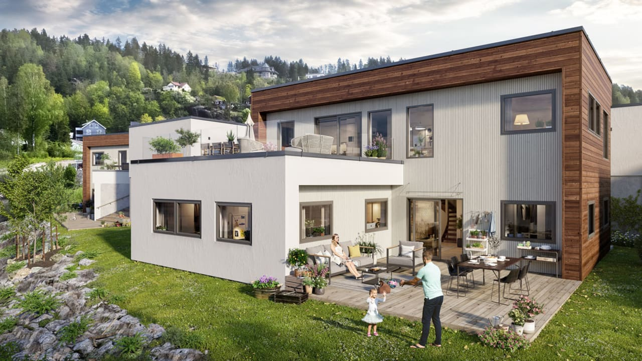 Illustrasjon av fasade på hus 6 med hage