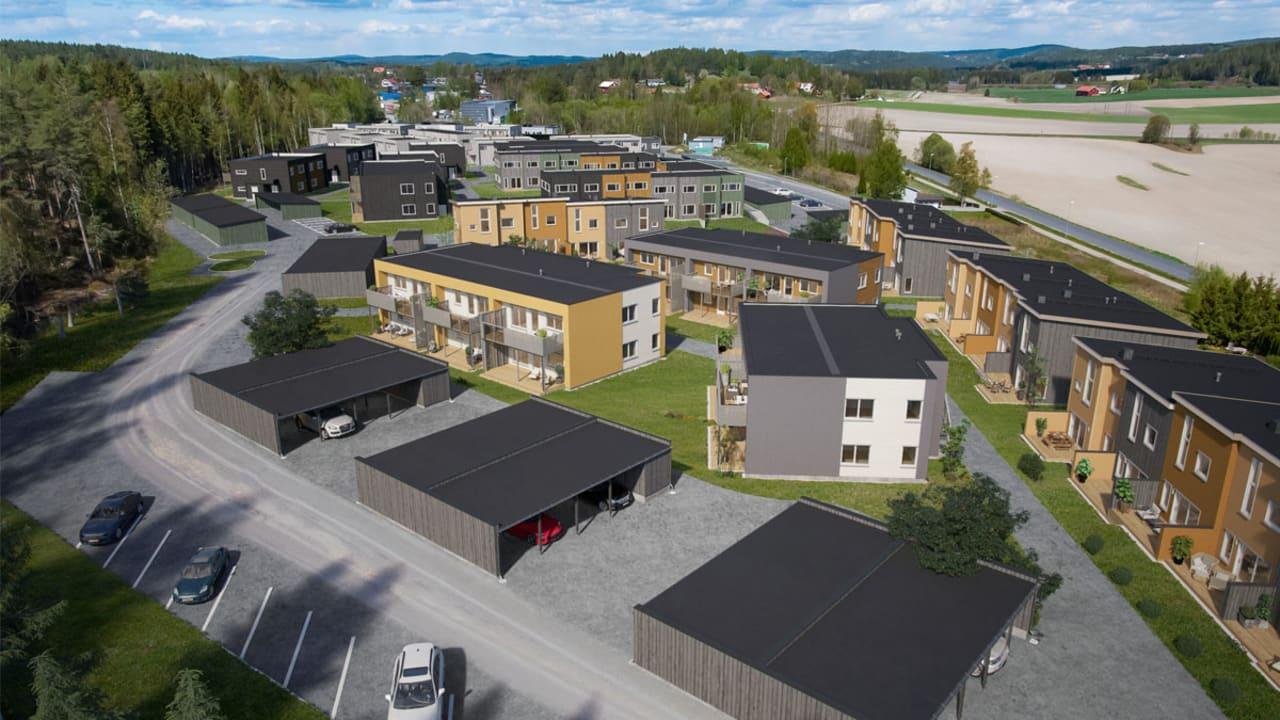 Oversiktsillustrasjon over leiligheter, rekkehus og parkering