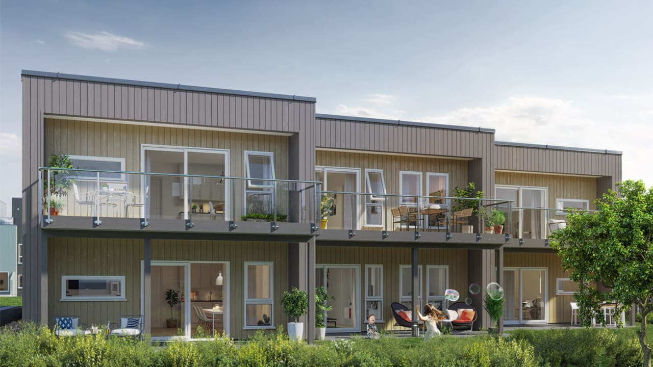 Illustrasjon av fasade på leiligheter
