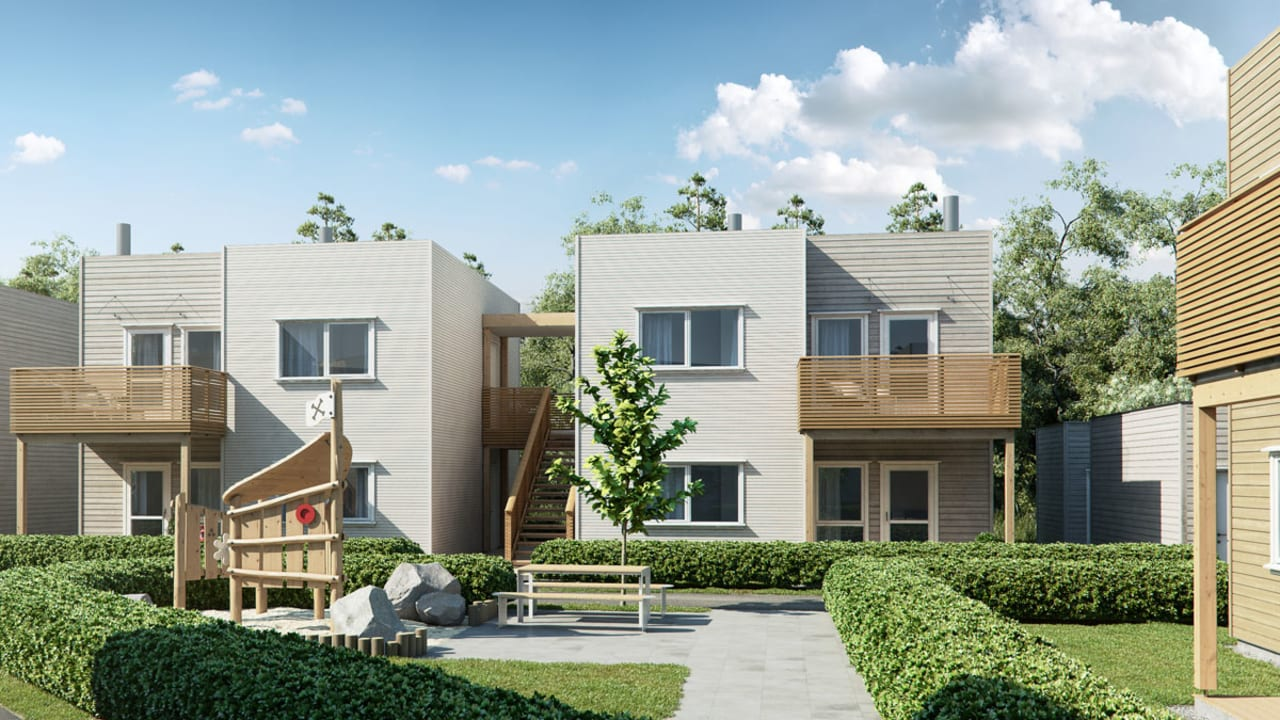 Illustrasjon av fasade leiligheter