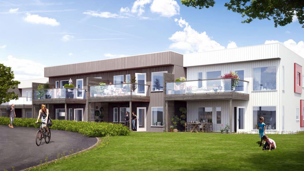Illustrasjon av fasade på leiligheter BK01