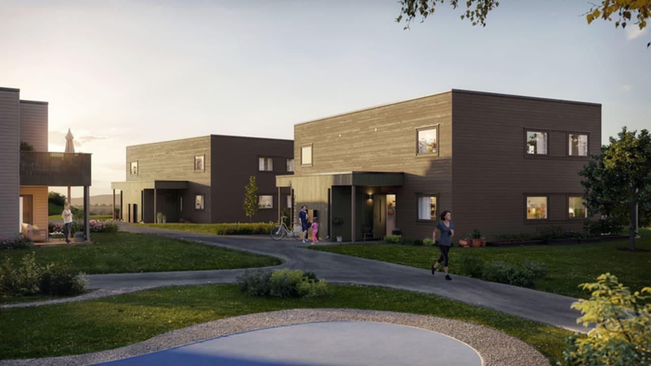 Illustrasjon av fasade på hus 15, 11 og 9