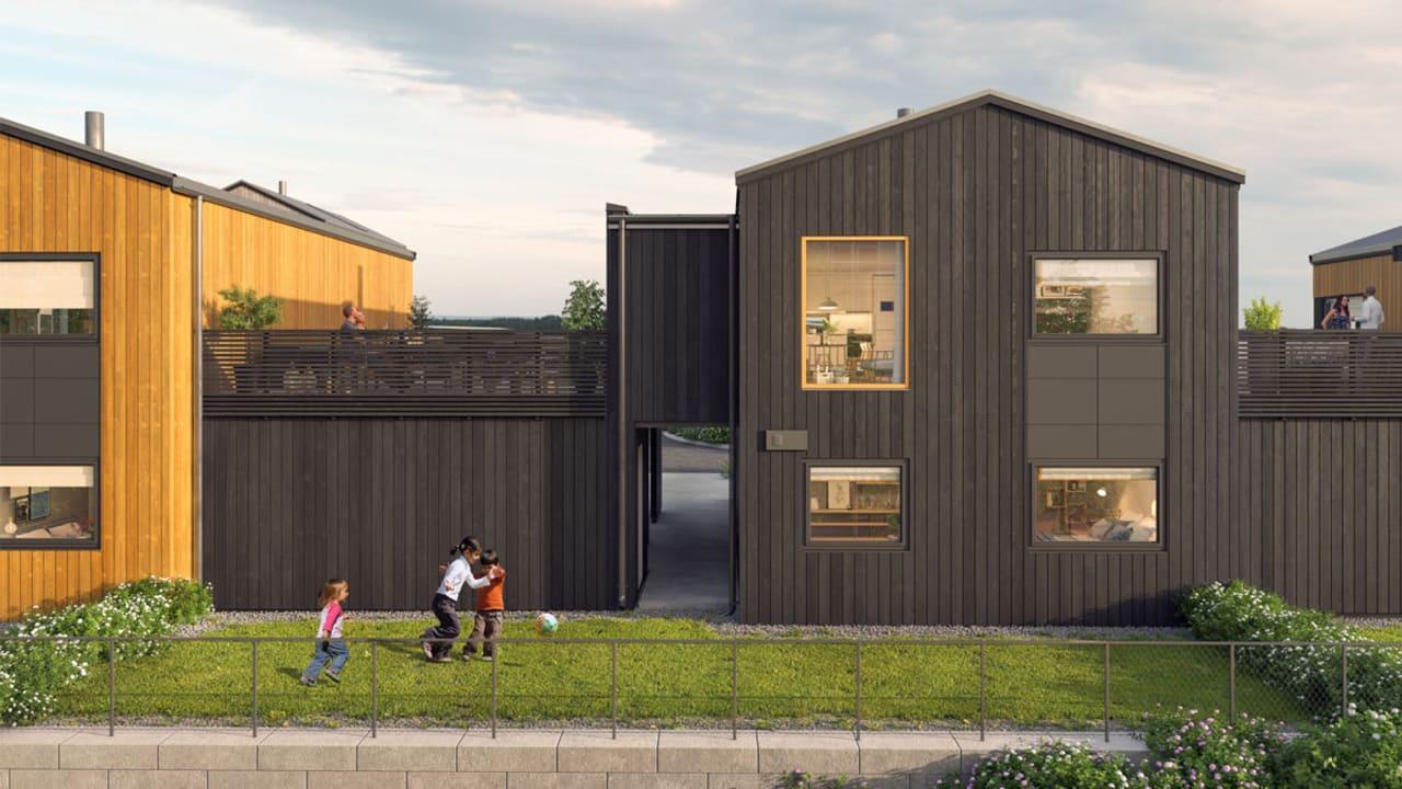 Illustrasjon av fasade og hage, enebolig 15-21