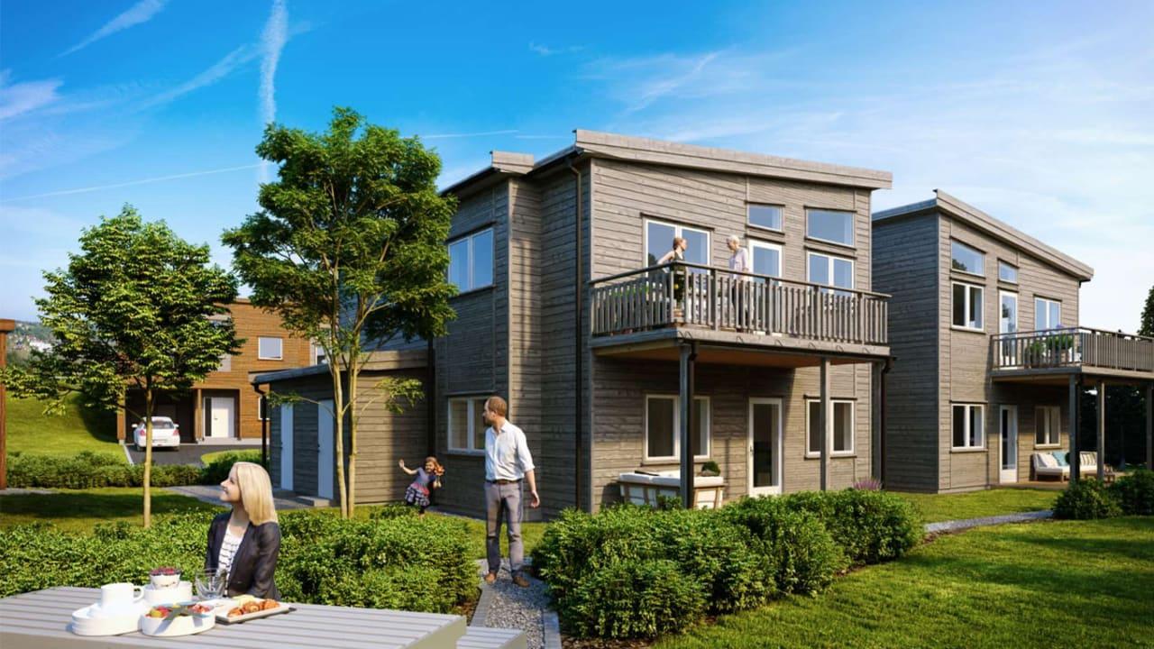Illustrasjon av fasade med balkong og hage