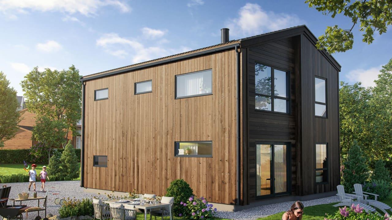 Illustrasjon av fasade på hustypen tjæreblomst