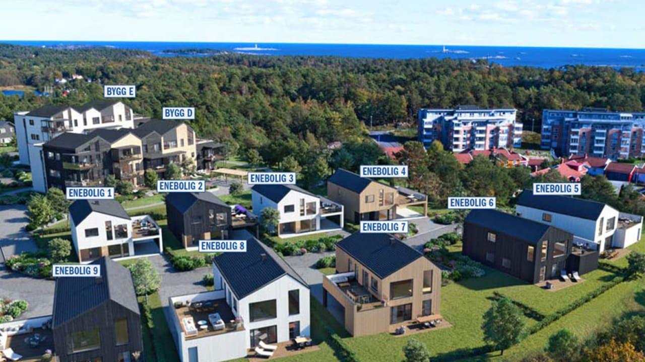 Her er boligene merket med nummer