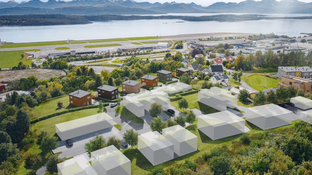 Illustrasjon av boligene sett mot sjøen