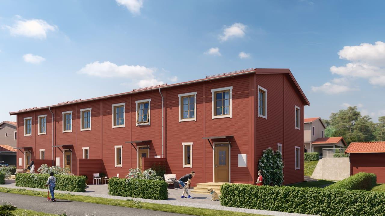 rött flerfamiljshus
