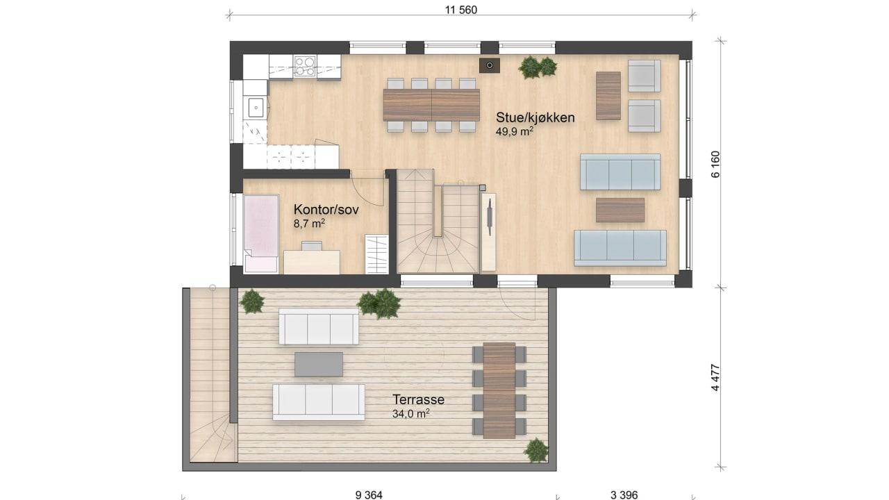 Huset er på 119 kvadratmeter og har fire soverom, to bad og åpen stue-og kjøkkenløsning. Over carport har du en romslig terrasse på 34 kvadratmeter.