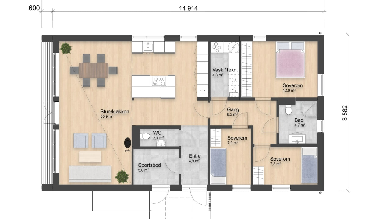 Dette huset har alle funksjoner på ett plan med tre soverom, to bad, eget vaskerom og åpen stue- og kjøkkenløsning med kjøkkenøy.
