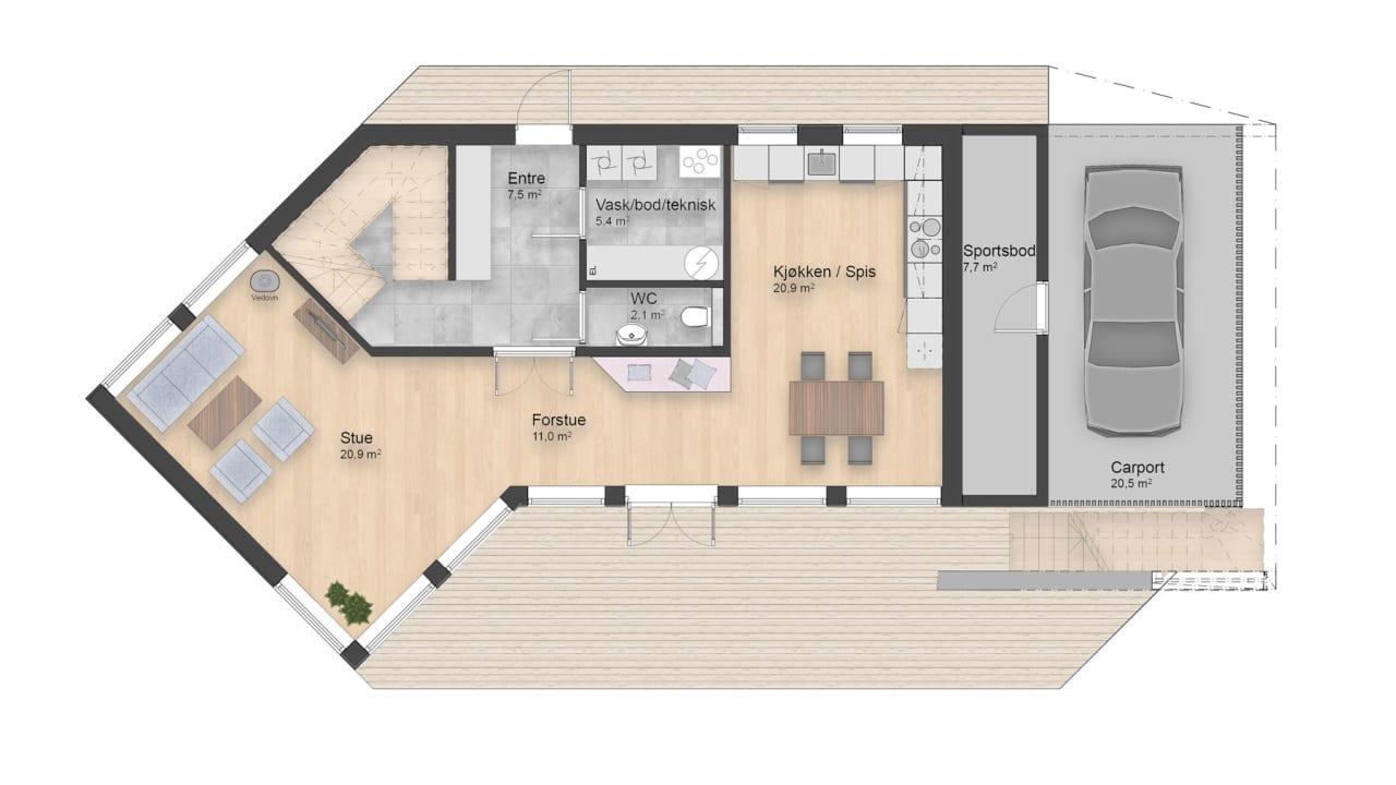 Lønn er et moderne hus med store vinduer som gir ysforhold i oppholdsarealene. Forstuen har integrerte sitteplasser og peis som møter deg innenfor inngangen.