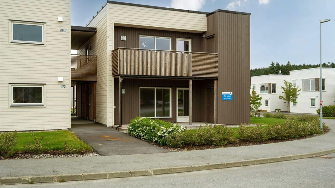 Bilde fra hagesiden på leilighet i Mølleparken