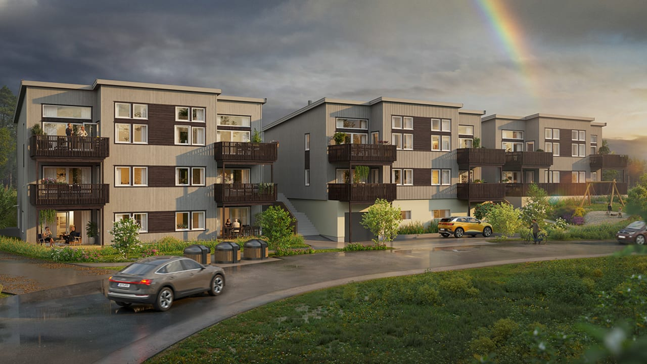Illustrasjon av utsiden av leilighetene på Eltonåsen Syd
