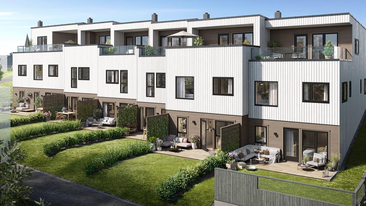 Illustrasjon av rekkehusene i boligprosjektet Myklebust i Sandnes.