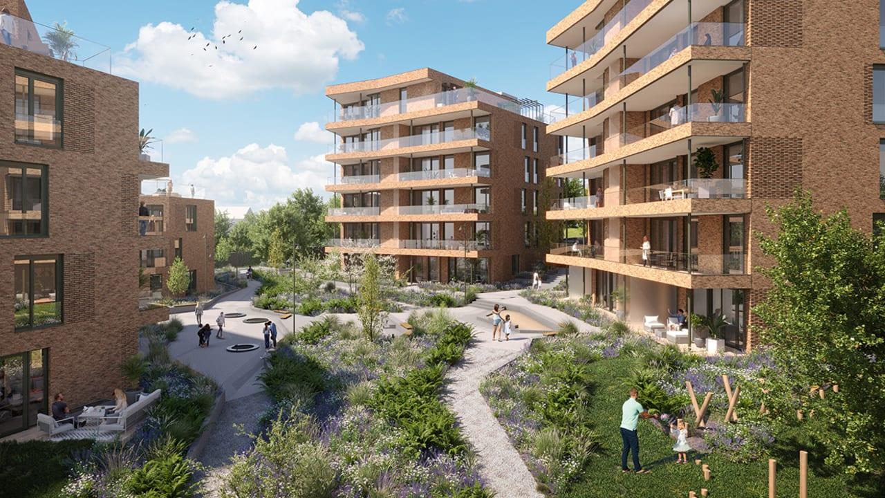 Illustrasjon av gårdsrom i boligprosjektet Hoffsveien hage i Oslo.