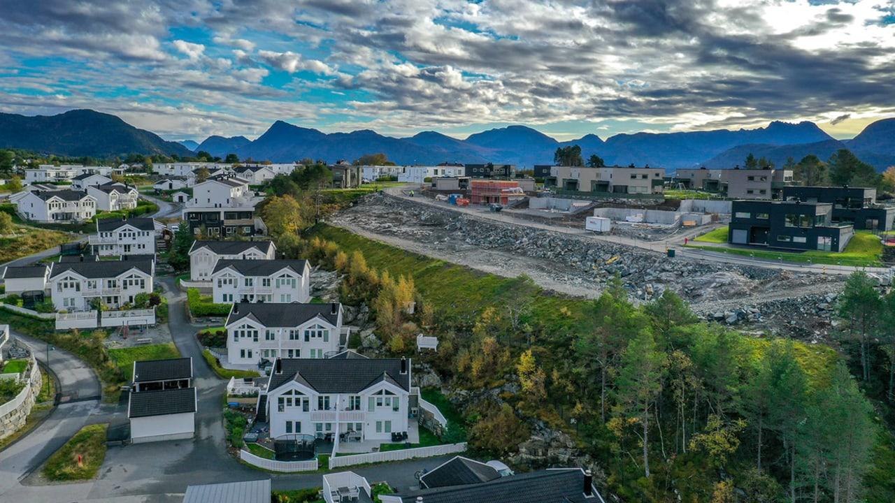Panoramabilde av boligfeltet på Fjordsyn.
