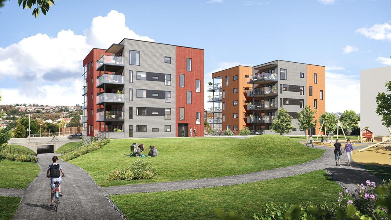 Illustrasjon av utsiden av leilighetene og uteområdene på Sørbøhagane BB13