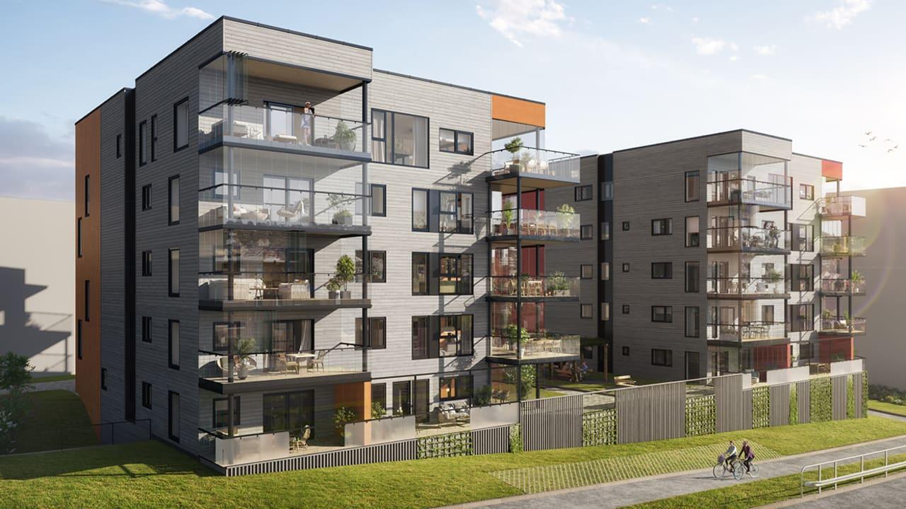 Illustrasjon av utsiden av leilighetene på Sørbøhagane BB13