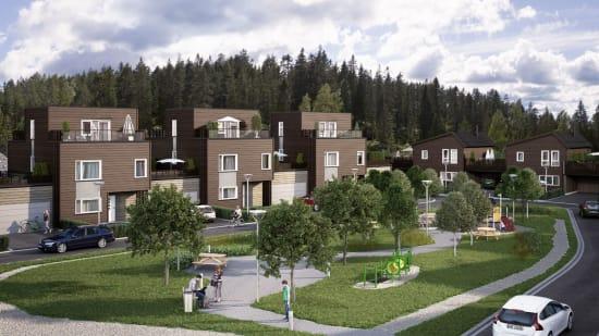 Oversiktsbilde av boligene på Løkenåsen Platå.