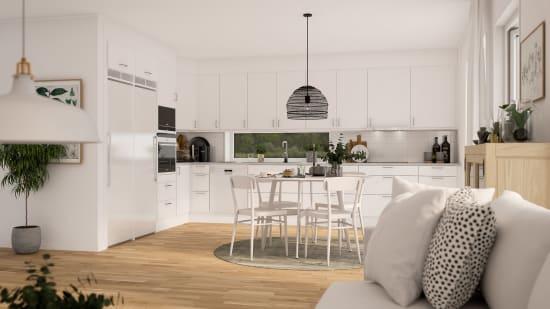 ljust vardagsrum som sitter ihop med köket