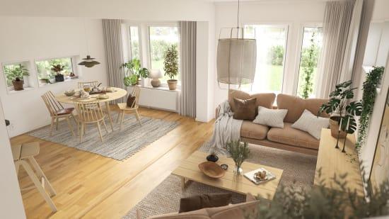 Interiör i en bostad i Brf Valsjöskogen
