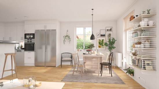 Vardagsrum  i en av bostäderna i Brf Karusellen som bostadsutvecklaren obos bygger i Örebro i området Nora Stensnäs