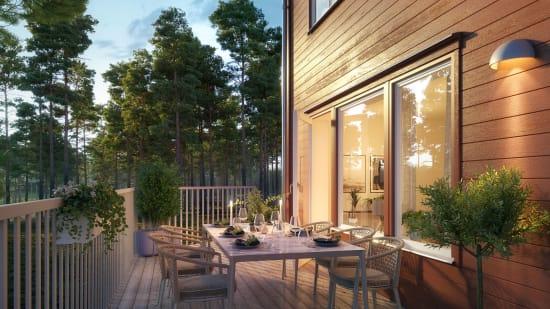 Exteriör i Brf Gläntan som OBOS planerar att bygga i Hovhaga